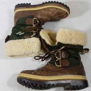 Tory Burch Brown/Green Lace Up Winter Boots